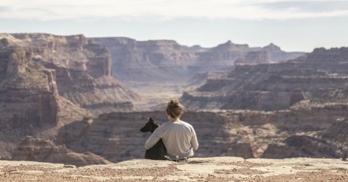 Imagen de un niñi de espaldas sentado en un acantilado con su perro